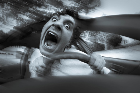 Silly man gets into car crash and makes ridiculous face Stok Fotoğraf - 48889338