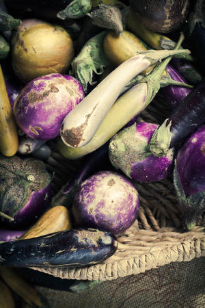 Heirloom eggplants of many colors displayed in giant basket Stock Photo