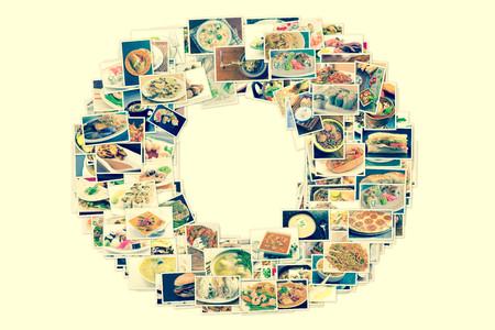 인기있는 전세계 저녁 식사 및 애피타이저의 콜라주 스톡 콘텐츠