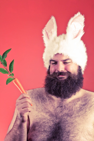 animal idiot: Confident bearded fat man wears silly bunny ears