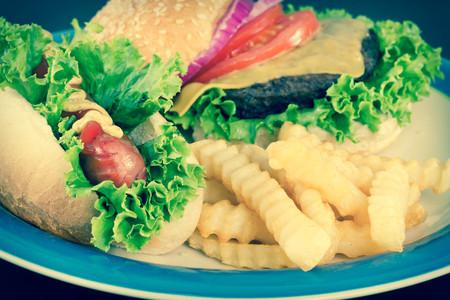 crinkle: Hamburger with cheese hotdog and crinkle fries