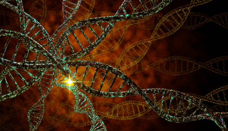 3D DNA strand with vibrant colors for genetics background 写真素材