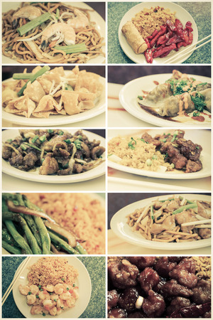take out: Various popular Chinese food take out dishes in collage image Stock Photo