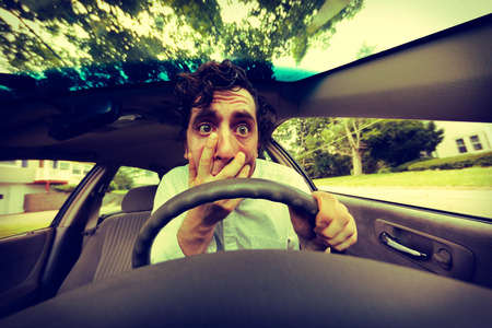 road rage: Silly man gets into car crash and makes ridiculous face