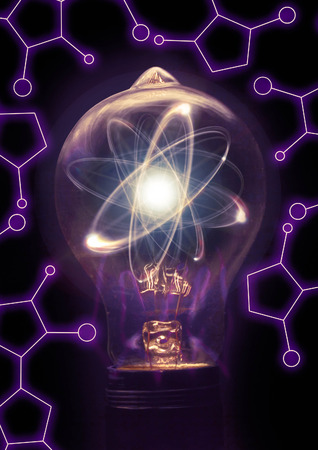 Atomic particle as lightbulb filament for nuclear energy imagery Stock Photo