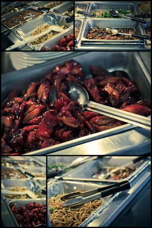 Chinese food buffet self service lunch or dinner collage images