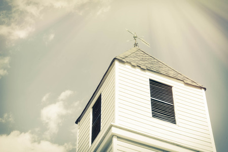 church steeple: Old church steeple on a perfect beautiful sunny day Stock Photo