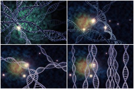 3D-DNA-Strang-Collage mit lebendigen Farben für Genetik Hintergrund Standard-Bild - 48894583