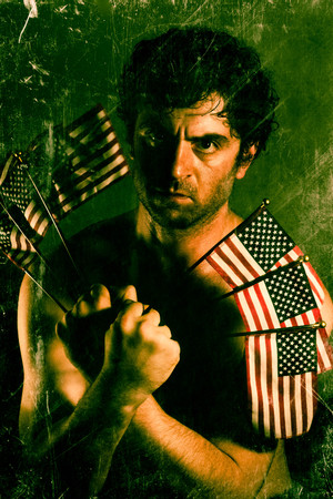 sam: Stylized Uncle Sam fighter holding American Flags as claws Stock Photo