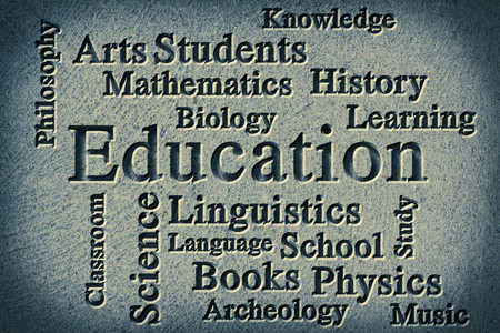 wordcloud: Education classroom subjects and related words in wordcloud on textured background