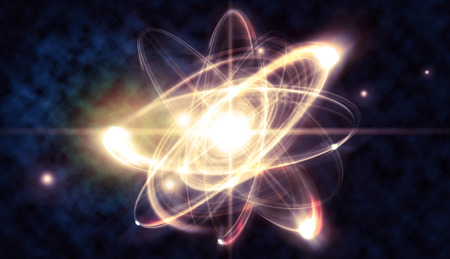 nuclear weapons: Close up illustration of atomic particle for nuclear energy imagery Stock Photo