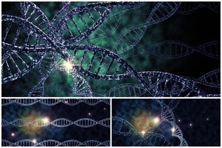 3D-DNA-Strang-Collage mit lebendigen Farben für Genetik Hintergrund Standard-Bild - 48914559