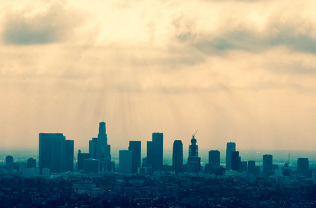 Beautiful Los Angeles skyline silhouette against sunset 写真素材