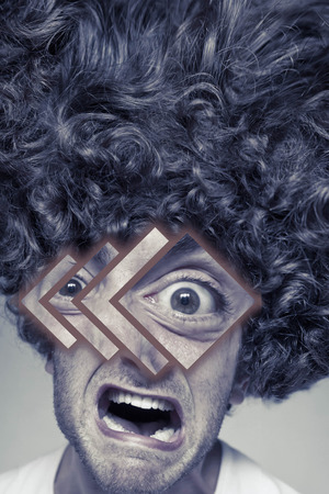 mouthing: Scruffy faced man with messy curly hair afro, abstract