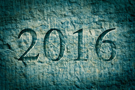 architecture alphabet: Engraving for the new year 2016 on textured old surface