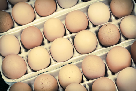 and organic: Brown organic all natural farm eggs in carton at local farmers market Stock Photo