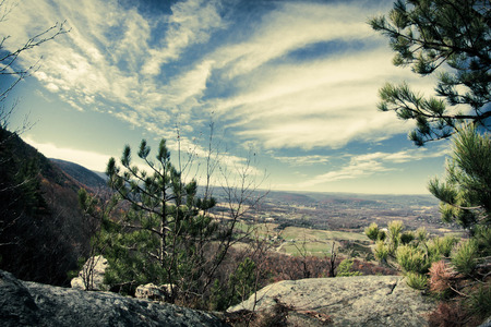 appalachian mountains: View from top of Appalachian Mountains with green pines and autumn maple and oak