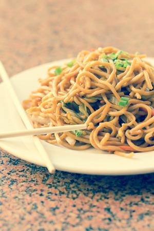 Heerlijk Chinees eten, Groente Lo Mein Roerbak Stockfoto