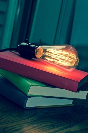 filament: Decorative antique edison style filament light bulb and stack of books Stock Photo