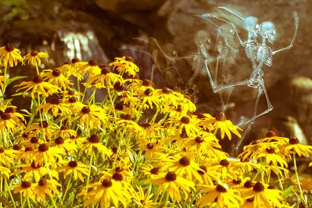 sirens: Scary dancing fairy skeleton spirits on flower background