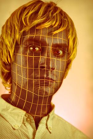 Strange mechanical cyborg man concept with solar panel skin