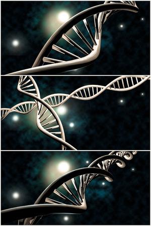 3D-DNA-Strang-Collage mit lebendigen Farben für Genetik Hintergrund Standard-Bild - 48915254