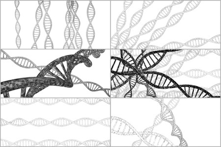 technology collage: 3D DNA strand collage with vibrant colors for genetics background