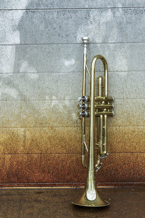 scraped: Old worn trumpet stands alone against a grungy wall outside a jazz club