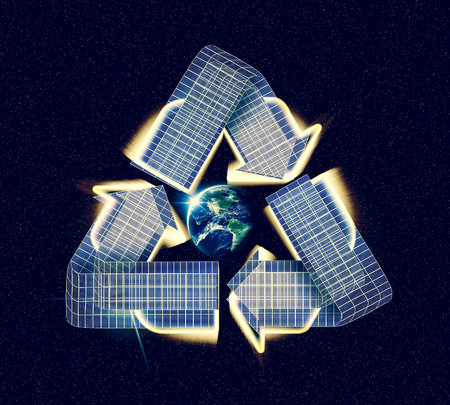 outerspace: Giant glowing recycle symbol floating in outerspace, save planet earth, Elements of image provided by NASA