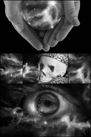 death head holding: Skull universe crystal ball and all seeing eye in horoscope collage
