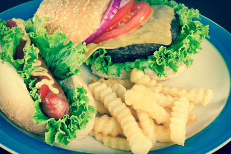 hotdog: Hamburger with cheese hotdog and crinkle fries