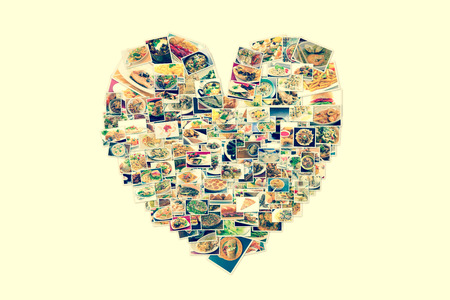 combo: Collage of lots of popular worldwide dinner foods and appetizers in heart shape
