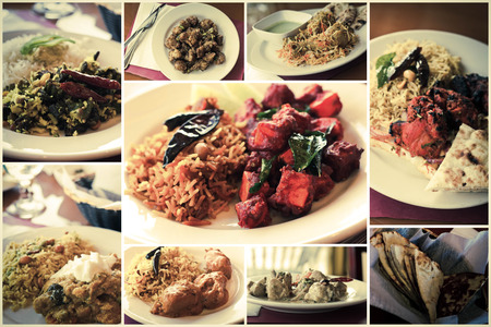 curry dish: Variety of popular Indian food dishes in collage imagery