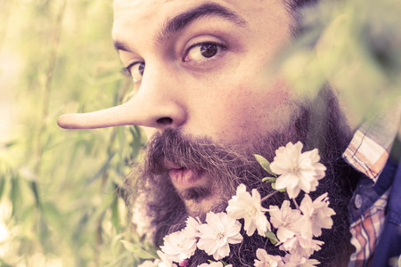 dishonest: Flowers decorate the beard of this young man with a long liar nose