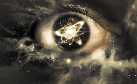 Reflexión partícula atómica en la pupila de un ojo para el fondo la física Foto de archivo - 48915992