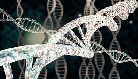 organelles: 3D DNA strand with vibrant colors for genetics background Stock Photo