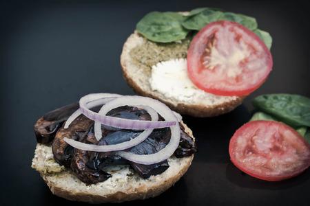 portobello: Portobello mushroom sandwich with goat cheese and pesto