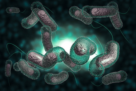 Close up 3D illustration of microscopic Cholera bacteria infection Stock Photo