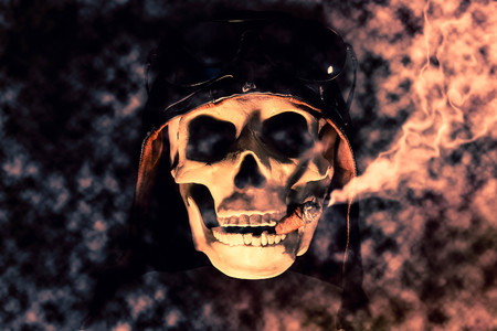 puffing: Spooky dead aviator skull puffing a fat cigar
