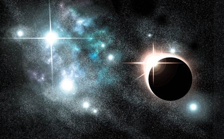 starscape: Bright eclipse starscape backdrop with colorful space clouds Stock Photo