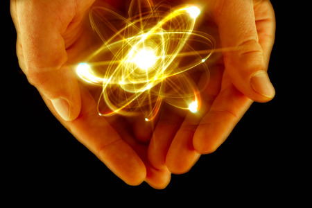neutrons: Atomic orbitting particle being held in cupped hands