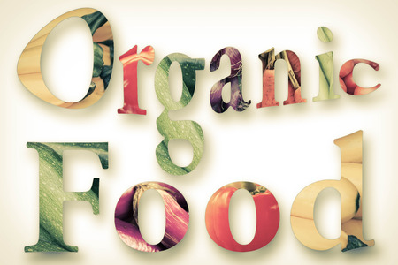 Healthy eating themed vegetables spell the word organic food