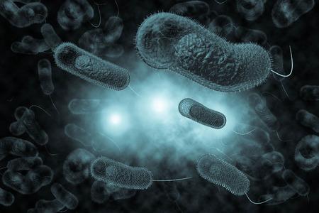 intestinal cancer: Close up 3D illustration of microscopic Cholera bacteria infection Stock Photo