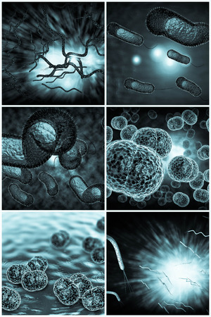 meningitis: 3D microscope close up of various bacteria in collage imagery