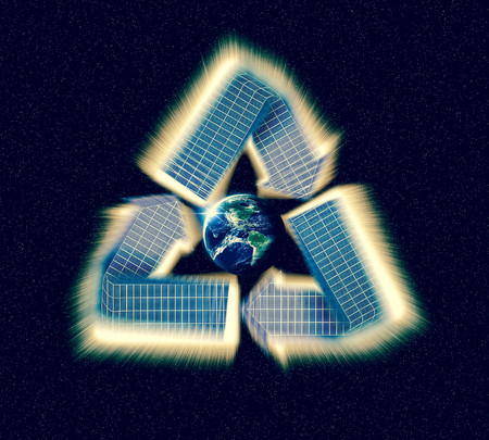 re fuel: Giant glowing recycle symbol floating in outerspace, save planet earth, Elements of image provided by NASA