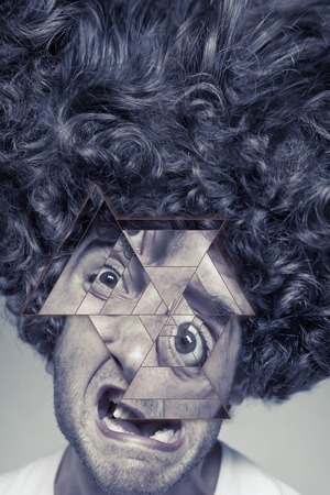 Scruffy faced man with messy curly hair afro, abstract