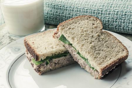 fast food: At�n entero de trigo s�ndwich de ensalada con un vaso de leche