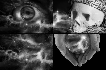 Skull universe crystal ball and all seeing eye in horoscope collage