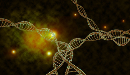 chemical bonds: 3D DNA strand with vibrant colors for genetics background Stock Photo