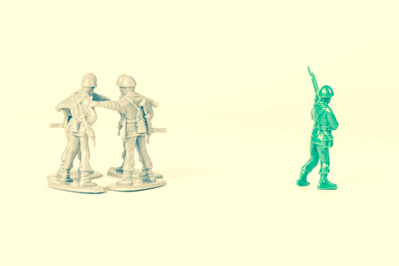 loner: Gray toy soldiers excluding the green toy soldier
